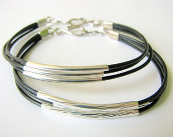 Thin Black Leather Bracelet with Silver Tubes