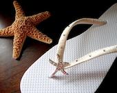 Starfish Flip Flops, Swarovski bridal flip flops, wedding flip flops, sea star flip flops, flip flops wedding, bridal flats  mdw-0011b