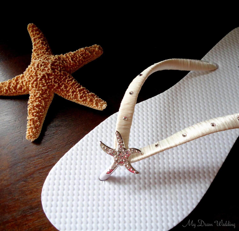 Starfish Flip Flops Swarovski Bridal Flip Flops Wedding Flip-9045