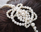 pearl celtic knot tiara - freshwater ivory white pearls silver wedding side tiara headband