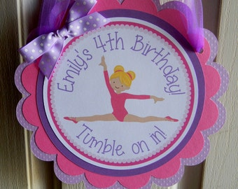 Gymnastics Tumbling Birthday Party Personalized Welcome Door Sign - Gymnastics Party Decorations - Gymnastics Door Hanger