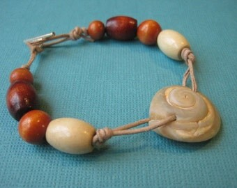 Moon Shell and Wooden Bead Leather Bracelet