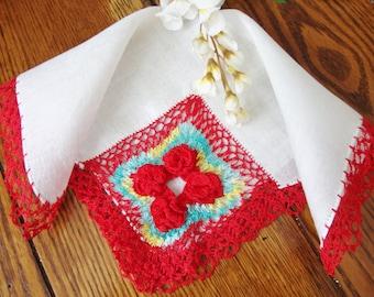 Hand Crochet Hankie Red Floral Detail and Trim on White Linen Hankie Vintage