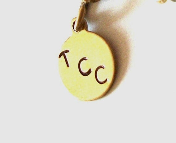 Small Personalized Metal Jewelry Tag - Solid Round Brass