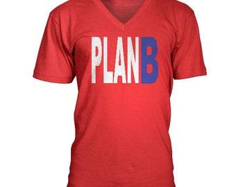 PLAN B Custom V-neck Mens shirt.  Many Colors To Choose From