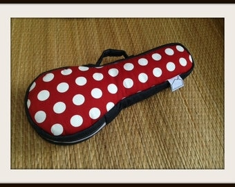 SALE - The Red - Red and White Polka dot Ukulele Case (Soprano size) Made to order