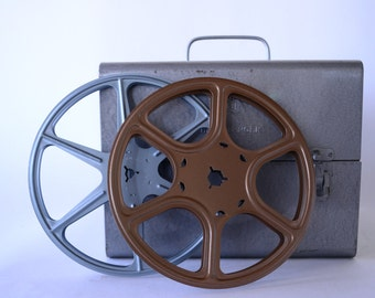 Vintage Editing Kit, HOME MOVIES,Metal Box, Film Reels, from Diz Has Neat Stuff