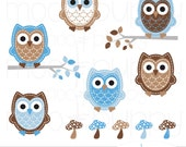 Owl Clip Art - Leona Blue&Brown -- INSTANT DOWNLOAD