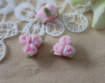 4pcs unique fimo rose flower,Pale Pink