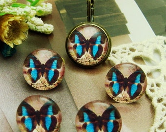 10pcs (12mm )Handmade Photo Glass   Cabochons   -Butterfly  (B1209)
