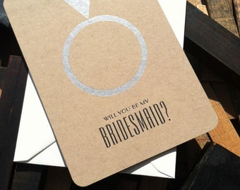 Will You Be My Bridesmaid Card (1)  - letterpress bridesmaid cards on kraft paper