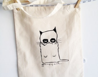 grumpy cat canvas tote