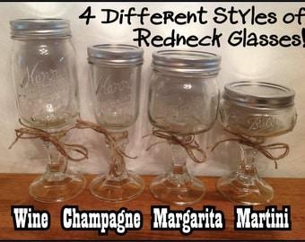 REDNECK WINE GLASSES or Champagne Margarita Martini Mason Jars on a Candlestick