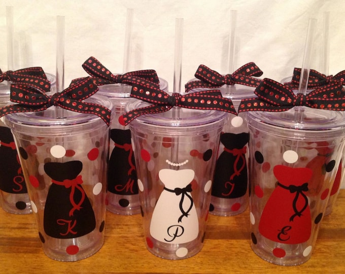 7 Personalized BRIDE & BRIDESMAIDS TUMBLERS 2-Sided Dress Name Initial Polka Dots Bridal Bachelorette Wedding Party