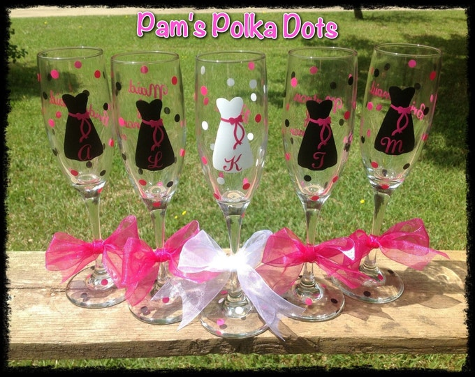 8 Personalized BRIDE & BRIDESMAID Champagne FLUTES with Dresses Name Initial Bridal Wedding Party Favor * Polka Dots