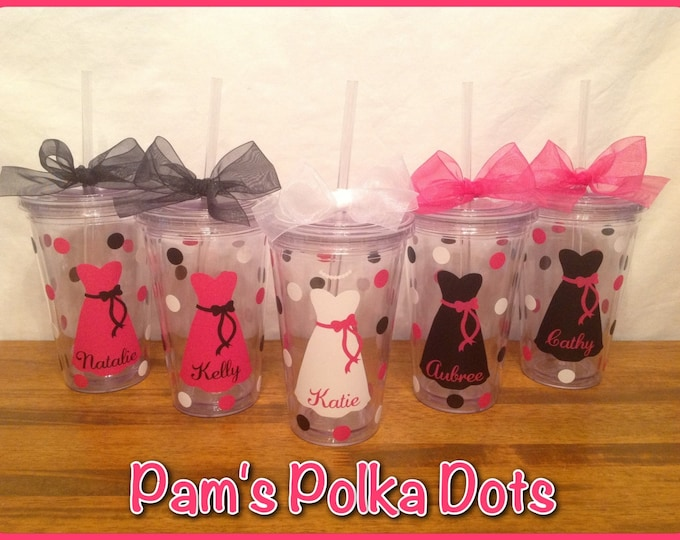 6 Personalized Clear Acrylic BRIDE & BRIDESMAIDS TUMBLERS with Dress Name Polka Dots Bridal Bachelorette Wedding Party