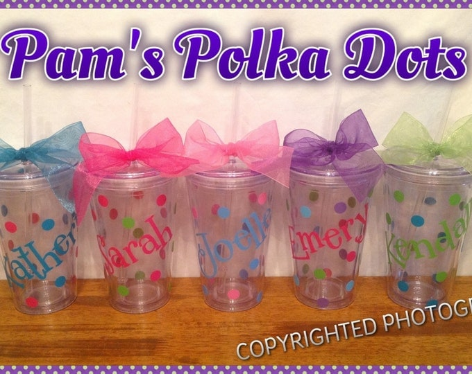 8 Personalized 16 oz. CLEAR ACRYLIC TUMBLERS with name, initial or monogram, polka dots, lid & straw