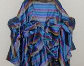 Sensational Striped Seersucker Silk Multi-Color Stripes on Denim Blue Background