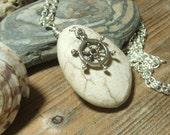 Natural White Beach Stone Pendant. Beach Pebble Pendant.