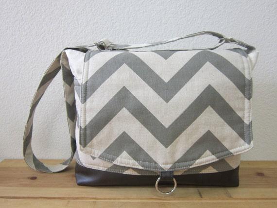 Gray chevron laptop messenger bag/ipad bag/shoulder bag/Graduation