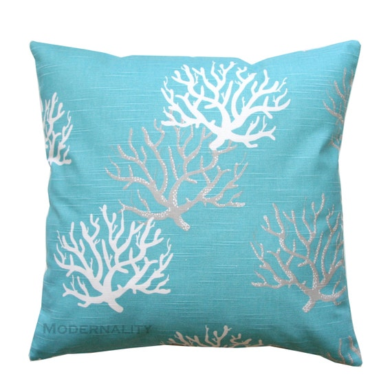 Accent Pillow Coastal Blue Isadella Pillow by ModernalityHomeDecor