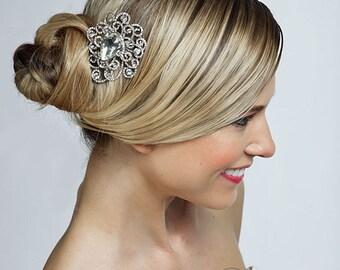 crystal wedding bridal flower haircomb, brooch