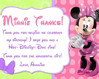 Minnie Mouse Bowtique Thank You Card Purple Photo Option Customizable Printable