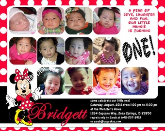 """Minnie Mouse First Birthday Invitations 12 Photos Red Polka Dots Customizable Printable 6x7.5"""" Costco Size"""
