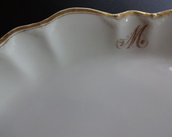 Antique Monogrammed Platter, Lamberton China, Gold Detail, 1920's-1930's