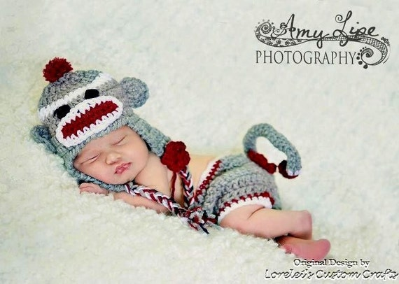 Sock monkey hat and diaper cover set in gray with red trim. Available in multiple sizes, made to order