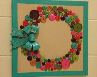 Handmade Button Wreath on Canvas - Wall Art