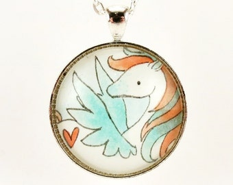 Pegasus Necklace, Pink And Blue Pendant, Fantasy Jewelry