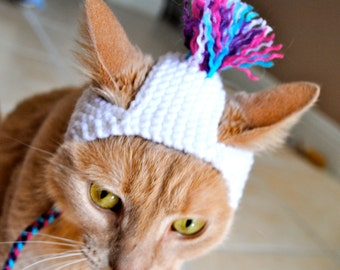 Cat Party Hat - White, Pink, Teal, and Purple