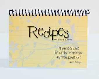 Recipe Book Blank Laminated Journal 4x6 Yellow Background with Gray Floral White Pages Ready To Ship