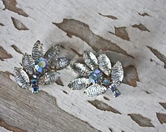 Vintage 1930's Marquis Cut Clear Rhinestone Cluster Earrings