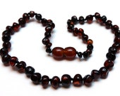 Baltic Amber Teething Necklace - Dark Cherry Color - Made in Canada