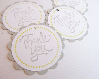 Baby Shower Favor Tags - Thank You Tags - Grey and Yellow - Set of 12 tags - Handmade