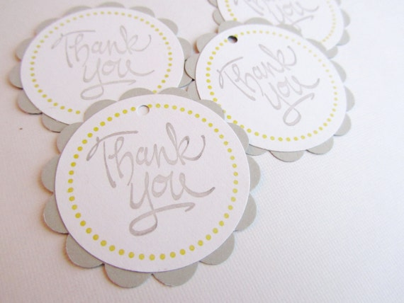 baby shower favor tags thank you tags grey and yellow set of 12