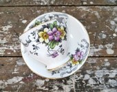 Clarence Bone China Tea Cup Floral Tea Cup with Purple and Yellow Made in England Teacup