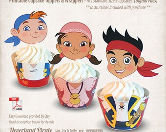 INSTANT DOWNLOAD, Printable Jake and the Neverland Pirates Cupcake Toppers & Wrappers, Digital File, Jake, Izzy, Cubby