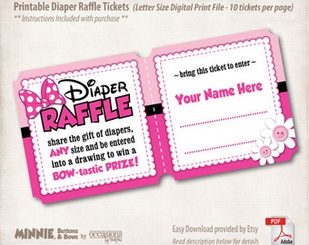 INSTANT DOWNLOAD, Printable Baby Shower Diaper Raffle Tickets, Letter Size, Digital File, Minnie Mouse, Buttons & Bows, Pink, Bowtique