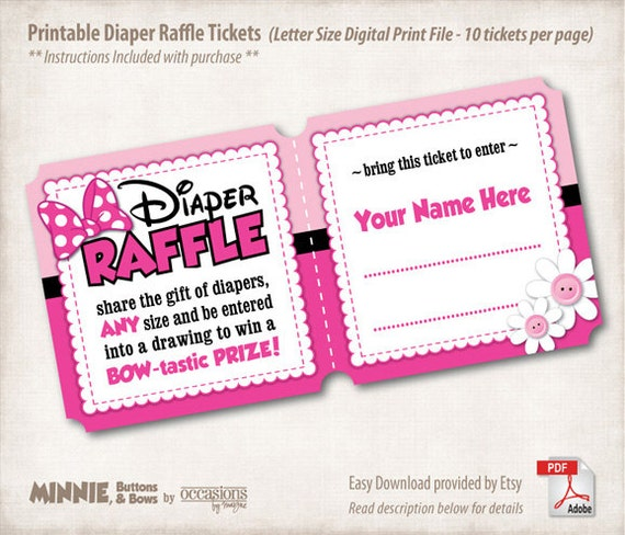 INSTANT DOWNLOAD, Printable Baby Shower Diaper Raffle Tickets, Letter ...