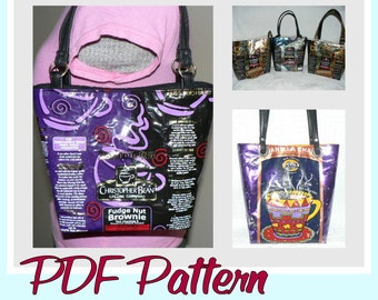 Coffee Wrapper Purse sewing pattern (PDF - instant download) DIY purse made using recycled wrappers, novelty purse