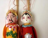 Chinese Opera Puppets, Man and Wife, Made in Taiwan, red and orange theater costumes