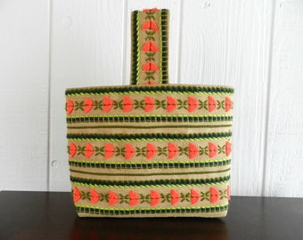 Vintage Crewel Embroidery Burlap Bag Watermelon Colors Neon Orange Green Lime for Books for Lunch for Back to School