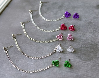Rose Single Chain Cartilage Earring (Pair) - SELECT COLOR