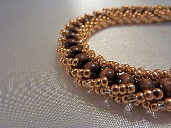 Woven Seed Bead Bracelet of Naturally Neutral Wood and Japanese Toho Seed Beads in Light Copper with Silver Accents