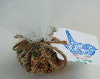 Blue Bird Tags - Natural  Jute Twine - Set of 10 - Weddings, garden themed events, rustic country