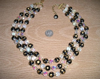 Vintage Signed Emmons Cut Crystal And Glass Necklace 3 Strand 1960''s Jewelry 2162