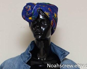 Head wrap: Ankara African wax print, yellow, blue, red afrocentric headwrap